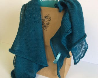 Thin and light colored aqua 100% merino wool scarf