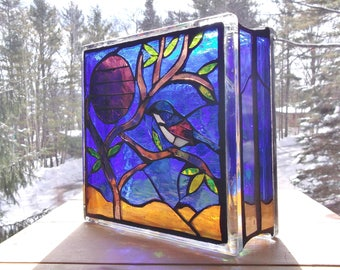Stained Glass Light Box Desert Scene Mosaic Nightlight Lamp