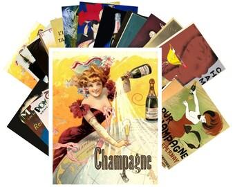 Postcard Pack (24 cards) Champagne Wine Vintage Art Deco Alcohol Ads CC1009