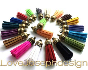100pieces Assorted colors suede leather Bronze plastic caps ear tassel --for length 45mm