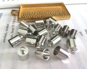 wholesale 100pieces silver metal 7mmx11mm(inner hole 6.5mm)tassel caps/end caps/cord caps/cord findings