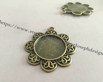 10 Pieces /Lot Antique Bronze Plated 25mm sunflower cabochon bezel trays charms (#0177)