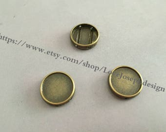 wholesale 100 Pieces /Lot Antique Bropnze Plated 10mm round slide bracelet blanks cabochon bezel trays charms (#0415)