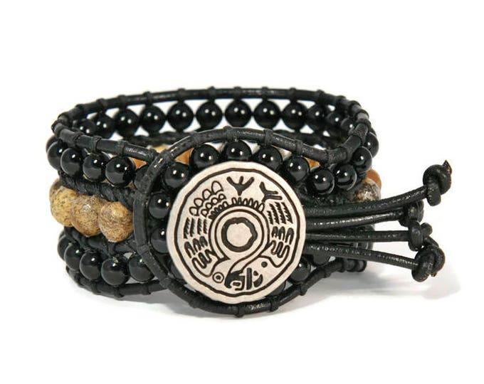 Boho Samfo * 3 strand Wrap Bracelet. Boho Style. Bohemian Jewelry. Semiprecious stones. Gift for her. Cuff Bracelet.
