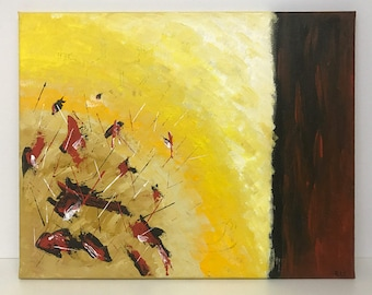 Original: abstract painting / modern painting in yellow, red and black on canvas. By RluArt