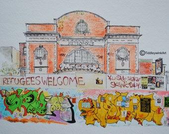 Bristol graffiti art - pen & ink watercolour sketch