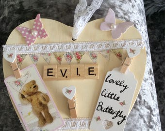 Personalised name plaque, baby shower, baby's room, baby gift, name sign, christening, keepsake, wall decor, newborn, baby