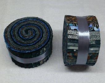 Batik Jelly Roll - Midnight Blue Tones - 40 strips