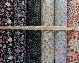 Set of 6 coupons cotton patchwork fabric seam 45 x 50 cm black ROSE 0108