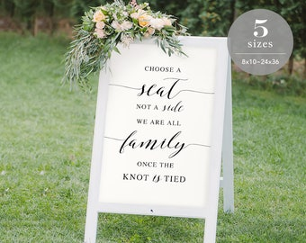 Choose a Seat not a Side Sign Template, Printable Choose a Seat Sign, Welcome Wedding Sign, PDF Template, Modern Wedding, DIY  #SPP007css