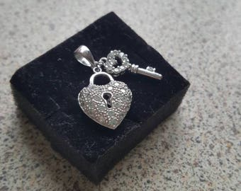 Sterling Silver 925 CZ Heart and Key pendant