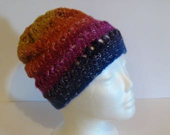 Best Darn Hat I Ever Had!  Blue, Hot Pink, Orange, and Yellow Criss-Cross Slouchy Womens Winter Hat (A1)
