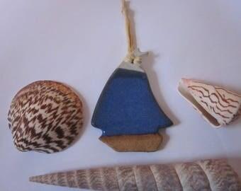 Pottery, Sailboat, Sail Boat, Ornament, Christmas, Ceramic, Handmade