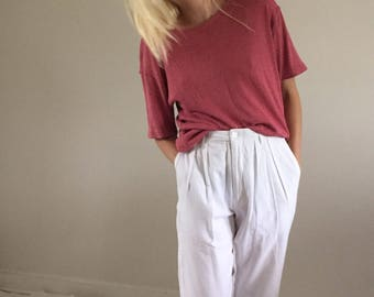 Vintage 80s White Calvin Klein Sport High Waisted Pleated Trousers w/ Relaxed Leg