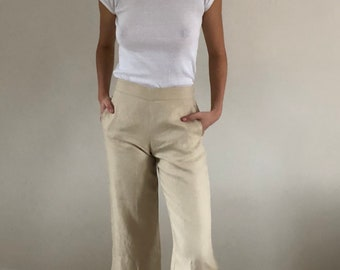 90s DKNY City High Waisted Wide Leg Cropped Palazzo Pants Oatmeal Linen | 28W