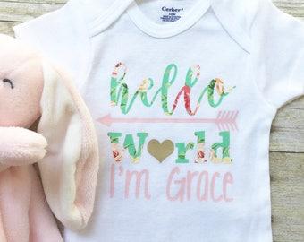 Personalized Onesie, Baby Girl Hello World Onesie,  Hello World Bodysuit, New Mom Gift, Newborn Onesie, Baby Shower Gift,