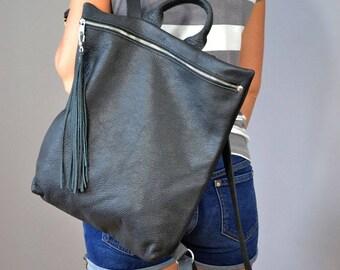 Black Leather backpack.  Leather rucksack, Laptop bag leather,  Ladies backpack, Laptop Leather Rucksack, Macbook backpack, Laptop bag