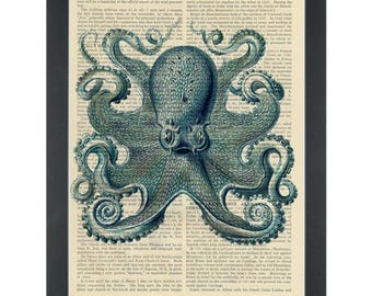 Blue Octopus Vintage Drawing Dictionary Art Print