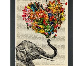 Lucky Flower Elephant Dictionary Art Print