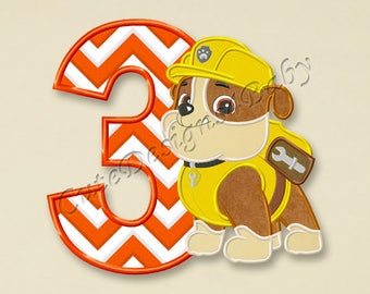 Paw Patrol Rubble Third birthday applique embroidery designs, First birthday Machine Embroidery Design, designs baby, Instant download #084