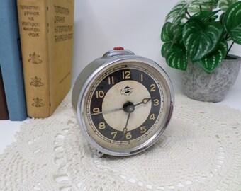 Soviet Vintage Alarm Clock Yerevan (Erevan, Ереван), Rare Russian Mechanical Clock, Working, Gray Color, Russia, Soviet Union, USSR 1950s,