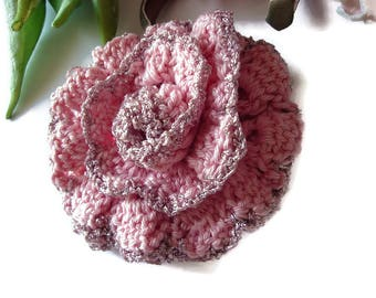 Crocheted Rose Brooch  Crochet flower brooch Pink Rose Handmade Rose Brooches Knitted jewelry Shawl Pin Handmade pin rose Brooch for womens