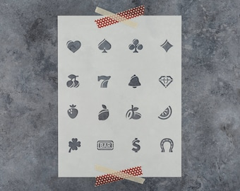 Casino and Gambling Stencil - Reusable DIY Craft Stencils of a Casino Items