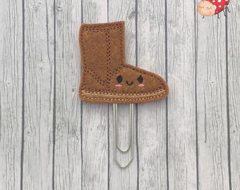 Boot planner clip, Paperclip, office supplies, paperwork, gift, embroidered, felt, organiser accessories, journal