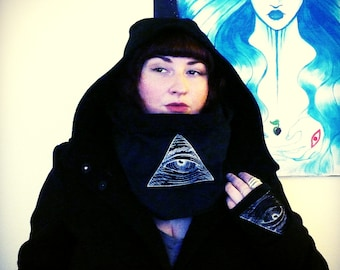 Illuminati Cowl - Embroidered Cowl - Occult Cowl - Gothic Fashion - Wasteland Cowl - All Seeing Eye - Pyramid - One Size