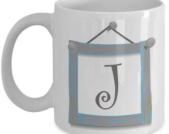 Farmhouse Coffee Mugs - Farmhouse Style Dishes Monogrammed Mug - Letter J Mug - Coffee Mug Letter J - Initial Monogram - 11 oz Tea Cup