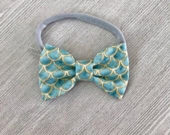 Light blue Mermaid bow - mermaid accessories for girls - bows for girls -baby girl gift - nylon headband