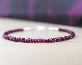 GARNET BRACELET/January Birthstone/Red Garnet Bracelet/Beaded Bracelet/Gemstone Bracelet/2nd Anniversy/Natural Garnet Jewellery