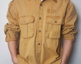 SALE 1990's Long Sleeve Australian Barn Work Shirt / Handy Man Button Up Shirt Heavy Duty Thick Cotton And Leather Button Up Barn Shirt