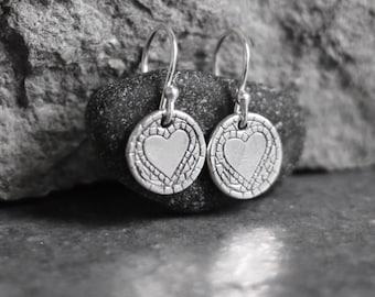 Heart Earrings - Drop circular Earrings - Mosaic Silver Hearts - Artisan Earrings