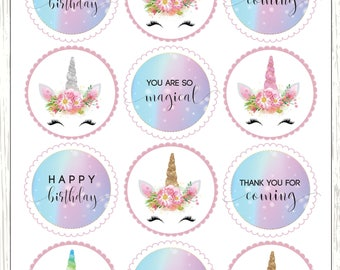 Modest image for unicorn cupcake toppers printable