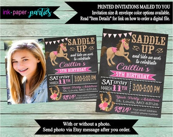 Western Horse Riding Pony Cowgirl Birthday Party Invitations Invites With our Without Photo Personalized Custom