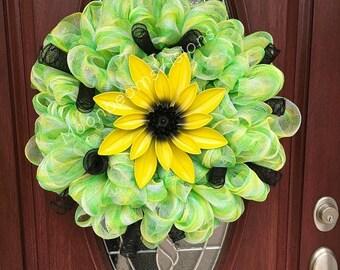 25% OFF summer flower wreath, Deco mesh flower wreath, summer wreath, flower wreath, deco mesh spring wreath, outdoor wreath, yellow flower