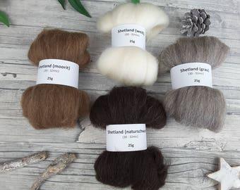 Shetland Sampler Pack - natural spinning fibres, mini-rovings for spinning, undyed shetland – 3,53oz