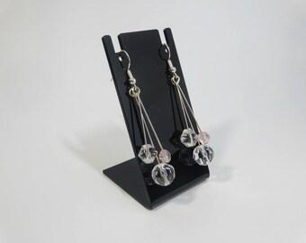 Triple Dangle Beaded Earrings Silver Plated