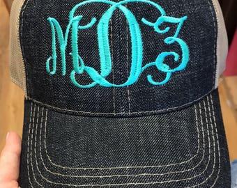 Dark Denim Monogrammed Hat