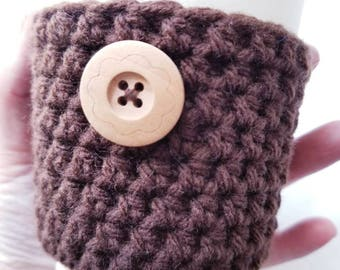 Feminine Crochet Cup Sleeve - Floral Wood Button Neutrals Everyday Cup Sleeve in Dark Chocolate