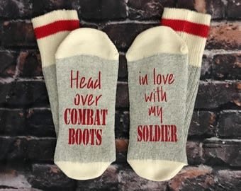 Military gift, soldier wife, Deployment, Combat boots, Love my soldier, socks Army, Marine, Navy, Air Force,  E102