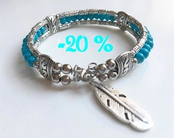 SUMMER SALE / / / Arizona dream silver boho Bracelet is crafted and adorned with a silver feather turquoise beads