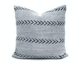 Gray mudcloth pillow cover, various sizes mudcloth pillow, mudcloth pillow cover, african mudcloth pillow