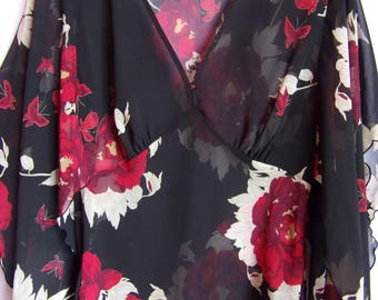ON SALE!!! /Romantic Blouse/Transparent Top/ Black With Red and White Flowers and Buterflays/Long Sleeve With Split/Tied Up/Size M