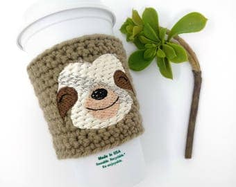 Sloth cup cozy - animal cup cozy, sloth accessories, crochet cup cozy, coffee cozy, cup bands, coffee cup cozy, tea sleeve,  cup cover