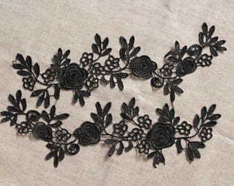 1 Pair Lace Applique Solubility Embroidery Trim Appliques in Black   for Dress,DIY,Headpieces, WL855