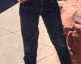ACNE jeans, dark wash, raw hem