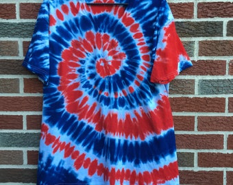 red white and blue tie dye t shirt