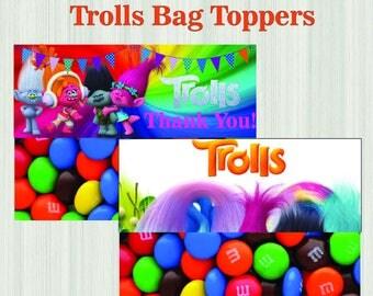 TrollsBagsTopper Trolls Party Favors Trolls Printable Bag Toppers Trolls TreatBagToppers Trolls Birthday Party INSTANTDOWNLOAD